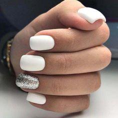 Nagellack Design, Nagellack Trends, Best Acrylic Nails, Acrylic Nail Designs, White Nail Designs, Acrylic Art, White Nail Art, Neutral Nails, Glitter Nail Art