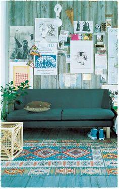 Grüne Sofas teppich blau
