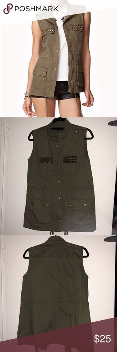 Forever 21 Studded Utility Vest Like new. Size Small. Color: Army green. Studs on the shoulder and chest pockets. Total of 4 pockets. Cinchable waist and hem. Zipper plus button closure. Made of 100% Cotton. Forever 21 Jackets & Coats Vests