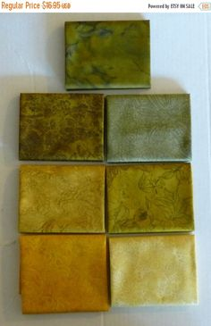 FANTASTIC SALE - Jinny Beyer Palette 2~Green/Gold~Cotton Fabric,Quilt,Fat Qtr Bundle of 7 Grp #24,RJR Fabrics, Fast Shipping,Fq468