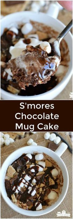 S'mores Chocolate Mug Cake is a one minute microwave dessert! A super easy recipe for those times when you just have to have warm and gooey chocolate!