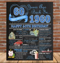 Birthday Decoration Sign, 1960 Birthday Poster, Birthday Gift for Man or Woman, BLUE Glitt - Bildschirm 60th Birthday Theme, 60th Birthday Ideas For Dad, 60th Birthday Party Decorations, Happy Birthday, Birthday Month, Dad Birthday, 60 Birthday Party Ideas, 60th Birthday Presents, Funny 60th Birthday Quotes