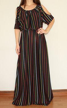 Black Maxi Dress Polka Dot Dress Open Shoulder