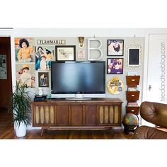 Decorate around a flat screen TV.