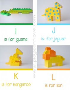 Lego Animal Alphabet Cards I-L ( and library pick of the week) - play learn love Lego Activities, Lego Games, Alphabet Activities, Preschool Activities, Children Activities, Lego Duplo, Animal Alphabet, Lego Animals, Lego Club