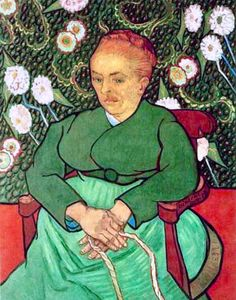 Augustine Roulin, 1889. Her husband Roulin had been Van Gogh's closest and most constant friend in Aries. This painting of Augustine Roulin had been started before Van Gogh's self-mutilation and on his return home he was eager to finish it before Roulin left for Marseille. The maternal image of the wife and mother was to suggest consolation, and had been inspired both by the artist's own despair and by a novel about fishermen that Van Gogh and Paul Gauguin had discussed before his departure.