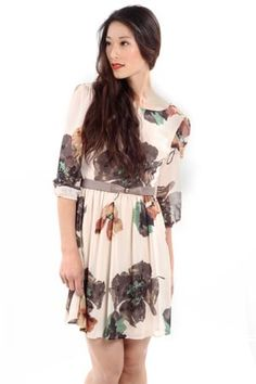 Modage Floral 3/4 Sleeve Dress
