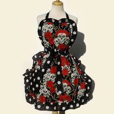 Tattoo Art and Polka Dots Skulls and Roses Apron by VintageGaleria, $28.00... Perfect for cutting the wedding cake