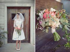 cute vintage dress and retro veil!