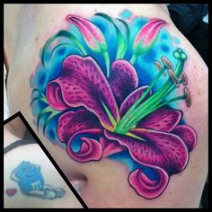 Cover up, unknown artist bright flower tattoos, lily flower tattoos, Bright Flower Tattoos, Flower Cover Up Tattoos, Colorful Flower Tattoo, Lily Flower Tattoos, Cover Tattoo, Flower Tattoo Designs, Tattoo Flowers, Flower Colors, Butterfly Tattoos