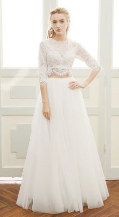Affordable Boho Wedding Dress with Sleeves. Unique two-piece design, lace top with tulle skirt