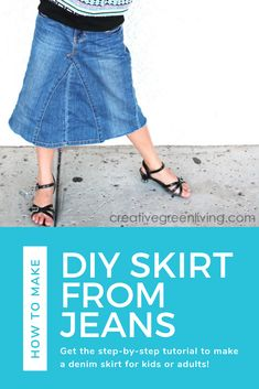 Get the step by step tutorial for how to make a DIY jean skirt from a pair of pants. This fun upcycling project is an easy way to make a modest skirt if you have basic sewing skills. This skirt is on the long side and works even with ripped jeans to make a skirt for kids, adults and even plus size! #creativegreenliving #upcycling #skirtfromjeans #jeanskirt #denimskirt #plussize #upcycledfashion #kidsskirt