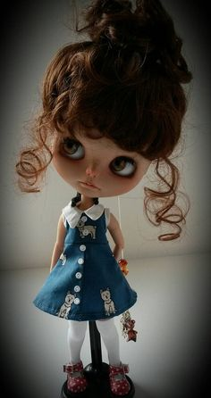 Dogs on blue dress for Blythe reserved for by MinniebloomersDesign