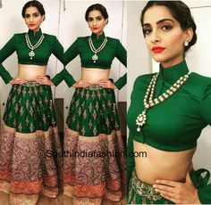Sonam Kapoor was spotted wearing a green lehenga by Anamika Khanna on the sets of Big Boss 9 promoting Prem Ratan Dhan Payo. She wore a heavy kundan necklace Lehenga Designs, Saree Blouse Designs, Indian Wedding Outfits, Indian Outfits, Ethnic Outfits, Wedding Dress, Indian Attire, Indian Wear, Saris