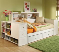 Day bed with tons of storage and a bookcase
