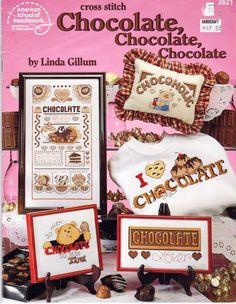 Chocolate Chocolate Chocolate  Counted Cross Stitch Patterns, Pillows, Samplers, Coasters, hat Decor and More by OnceUponAnHeirloom on Etsy