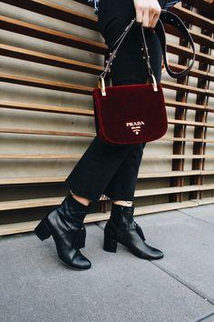 Velvet Prada Bag, Black Tassel Boots