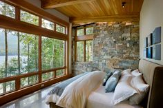 Rustic Lake House Cabin Bedroom~ Love the view!