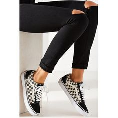 Vans Checkerboard Old Skool Sneaker ($55) ❤ liked on Polyvore featuring shoes, sneakers, checkered shoes, low profile shoes, vans sneakers, grip trainer and vans footwear