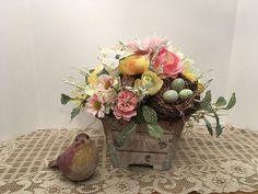 A Shabby Chic Spring Floral Arrangement, Summer Floral Arrangement with Bird Nest, Wedding Centerpiece, Mothers Day Gift, Rustic Arrangement by SheilasHomeCreations on Etsy