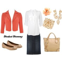 """""""Coral, White, and Denim"""" by modestmommy on Polyvore"""