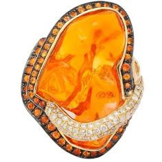 Mexican Opal Orange Sapphire Diamond Gold Ring ($6,000) ❤ liked on Polyvore featuring jewelry, rings, orange, sapphire ring, emerald cut ring, baguette diamond ring, yellow gold rings and gold opal ring