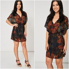 Kimono Chiffon Beach Dress Cover Up Size 8 12 Floral Print Belted Oriental NEW Kaftan, New Outfits, Beachwear, Oriental, Wrap Dress, Kimono, Floral Prints, Cover Up, Chiffon