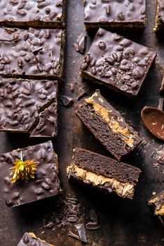 horizontal photo of Triple Layer Peanut Butter Crunch Brownies Peanut Butter Brownies, Chocolate Peanut Butter, Dessert Bars, Dessert Recipes, Desserts, Potluck Recipes, Dessert Ideas, Half Baked Harvest, Vegetarian Chocolate