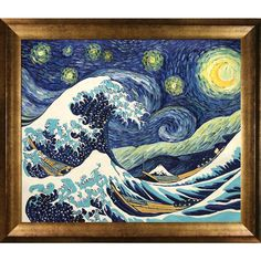 Vincent Van Gogh 'Starry Night Wave Collage' (Artist Interpretation) Hand Painted Framed Canvas Art
