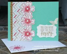 """Quick and Easy Floral Card using Stampin' Up!'s """"Flower Shop"""" and """"Yippee Skippe"""" stamp sets and the new """"Fresh Prints"""" Designer Series Paper."""