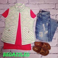 We love this fun new outfit! Striped Vest $58.99 (small-large) Pink Tee $8.99 (small-large) Big Star Capris $136.00 Sandals $18.99 (5.5,6,6.5,7) #bedazzledokc #boutique #okc #shopbedazzled