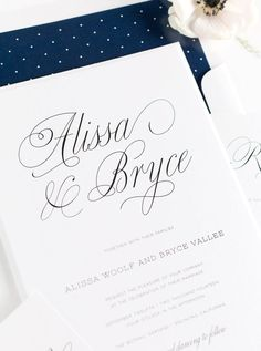 Romantic Garden Wedding Invitations in Navy Blue with a polka dot envelope liner.  Click through for ordering details and a free sample set!