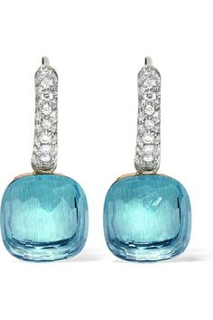 Pomellato | Nudo 18-karat white gold, topaz and diamond earrings | NET-A-PORTER.COM