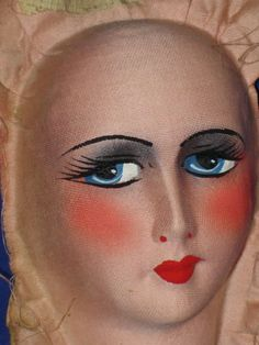 Smaller-Art-Deco-Era-Boudoir-Bed-Doll-Painted-Pressed-Mask-Face-Only