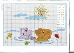 animaux dans l\'eau (2) Cross Stitch Baby, Cross Stitch Animals, Cross Stitch Patterns, Zoo Animals, Plastic Canvas, Safari, Kids Rugs, Children, K2