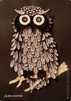 Картина панно рисунок Мастер-класс Квиллинг Сова Ночь  квиллинг + МК Бумага Клей Бумажные полосы фото 1