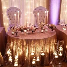 The sweetest sweetheart table for Hunter and Donelle, who tied the knot last night! Saratoga Springs, NY Hall of Springs Wedding. Pink uplighting with floating votives. Wedding Reception Decorations, Wedding Themes, Wedding Centerpieces, Wedding Colors, Wedding Receptions, Gold Wedding, Dream Wedding, Wedding Day, Wedding Black