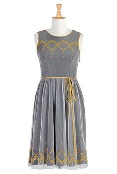 Embellished tulle overlayer dress