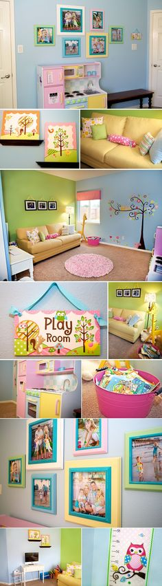 Playroom...not sure i'd have a yellow couch in a children's playroom but the layout and colors are adorable!!