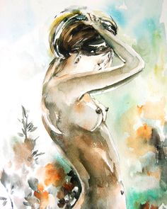 Woman Figure Watercolor Painting Art Print, Figurative Nude Art,  Modern Watercolor Art, Nude Painting