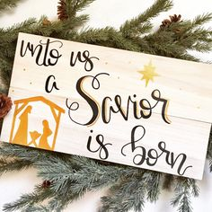 Unto Us a Savior is Born Christmas sign by FearfullyMadeCo on Etsy