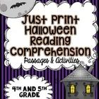 This Just Print Reading Comprehension Resource contains three texts that are Halloween themed: a fictional passage, an informational passage, and a...