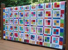 Bright Colorful Twin or Large Throw Patchwork by QuiltsyTeam