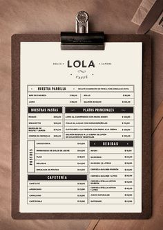 Lola Caffé - Restaurant on Behance Menu Board Design, Food Menu Design, Cafe Menu Design, Menu Restaurant, Restaurant Design, Coffee Shop Menu, Coffee Shop Design, Speisenkarten Designs, Digital Menu Boards