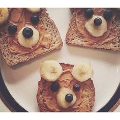 Bear faces with banana slices, blueberry eyes and nose and nut/seed butter to keep it all together. BE SURE TO READ THE INGREDIENTS IN THE BREAD!!! A beary toast!!!