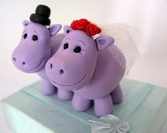 Hippo Wedding Cake Toppers