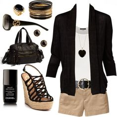 Black jacket, white blouse, brown shorts, handbag  high heel sandals - Not actually me, but I do SO love this whole outfit :)