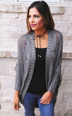 27d6e59826e59 Charcoal Knit Kimono - Dottie Couture Boutique Dottie Couture Boutique