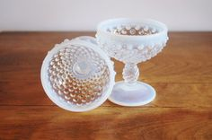 2 Fenton Hobnail French Opalescent Sherbet Dishes Pedestal Bowls Candy Dishes, Fenton Art Glass, Easter Decor, White Wedding Gift, Moonstone