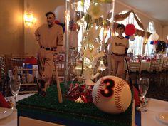 Baseball themed Bar Mitzvah. Centerpiece base.